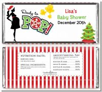 She's Ready To Pop Christmas Edition - Personalized Baby Shower Candy Bar Wrappers