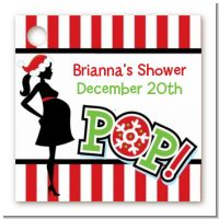 She's Ready To Pop Christmas Edition - Personalized Baby Shower Card Stock Favor Tags