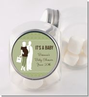 Silhouette Couple | It's a Baby Neutral - Personalized Baby Shower Candy Jar