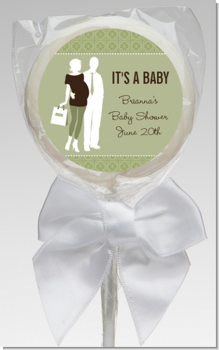 Silhouette Couple | It's a Baby Neutral - Personalized Baby Shower Lollipop Favors