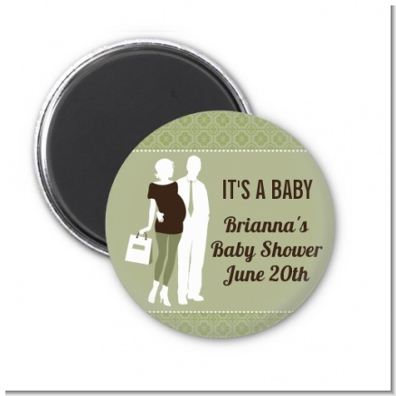 Silhouette Couple | It's a Baby Neutral - Personalized Baby Shower Magnet Favors