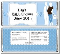 Silhouette Couple | It's a Boy - Personalized Baby Shower Candy Bar Wrappers