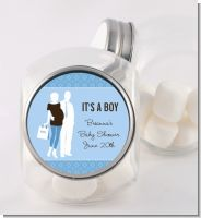 Silhouette Couple | It's a Boy - Personalized Baby Shower Candy Jar