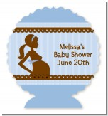 Mommy Silhouette It's a Boy - Personalized Baby Shower Centerpiece Stand