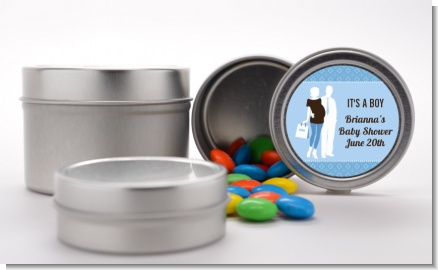 Silhouette Couple | It's a Boy - Custom Baby Shower Favor Tins