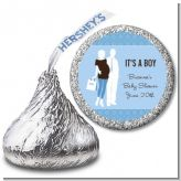 Silhouette Couple | It's a Boy - Hershey Kiss Baby Shower Sticker Labels
