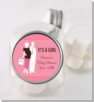 Silhouette Couple | It's a Girl - Personalized Baby Shower Candy Jar