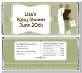 Silhouette Couple African American It's a Baby Neutral - Personalized Baby Shower Candy Bar Wrappers