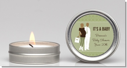 Silhouette Couple African American It's a Baby Neutral - Baby Shower Candle Favors