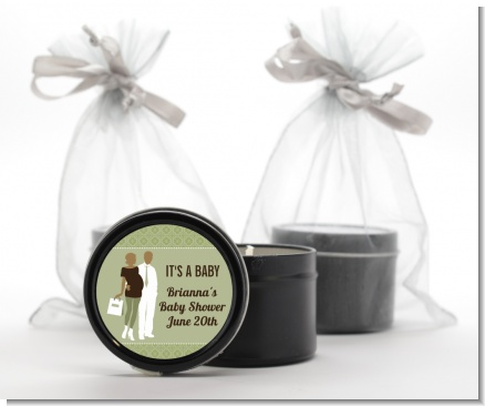 Silhouette Couple African American It's a Baby Neutral - Baby Shower Black Candle Tin Favors