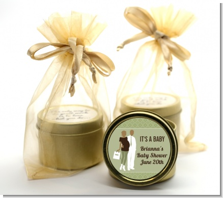 Silhouette Couple African American It's a Baby Neutral - Baby Shower Gold Tin Candle Favors