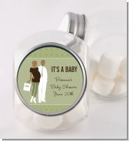 Silhouette Couple African American It's a Baby Neutral - Personalized Baby Shower Candy Jar