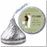 Silhouette Couple African American It's a Baby Neutral - Hershey Kiss Baby Shower Sticker Labels