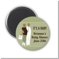 Silhouette Couple African American It's a Baby Neutral - Personalized Baby Shower Magnet Favors