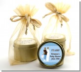Silhouette Couple African American It's a Boy - Baby Shower Gold Tin Candle Favors
