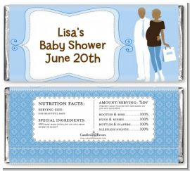 Silhouette Couple African American It's a Boy - Personalized Baby Shower Candy Bar Wrappers