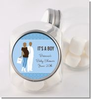Silhouette Couple African American It's a Boy - Personalized Baby Shower Candy Jar