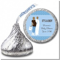 Silhouette Couple African American It's a Boy - Hershey Kiss Baby Shower Sticker Labels