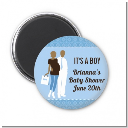 Silhouette Couple African American It's a Boy - Personalized Baby Shower Magnet Favors