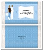 Silhouette Couple African American It's a Boy - Personalized Popcorn Wrapper Baby Shower Favors