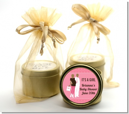 Silhouette Couple African American It's a Girl - Baby Shower Gold Tin Candle Favors