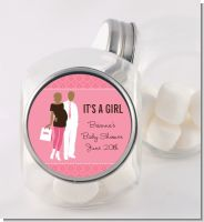 Silhouette Couple African American It's a Girl - Personalized Baby Shower Candy Jar