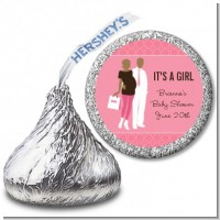 Silhouette Couple African American It's a Girl - Hershey Kiss Baby Shower Sticker Labels