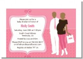 Silhouette Couple African American It's a Girl - Baby Shower Petite Invitations