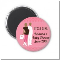 Silhouette Couple African American It's a Girl - Personalized Baby Shower Magnet Favors
