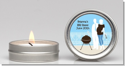 Silhouette Couple BBQ Boy - Baby Shower Candle Favors