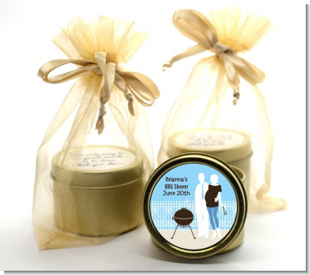 Silhouette Couple BBQ Boy - Baby Shower Gold Tin Candle Favors