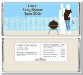 Silhouette Couple BBQ Boy - Personalized Baby Shower Candy Bar Wrappers