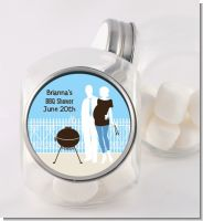 Silhouette Couple BBQ Boy - Personalized Baby Shower Candy Jar