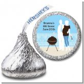 Silhouette Couple BBQ Boy - Hershey Kiss Baby Shower Sticker Labels