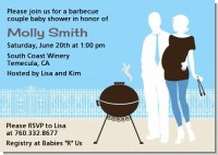 Silhouette Couple BBQ Boy - Baby Shower Invitations