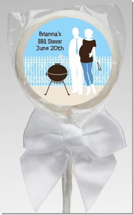 Silhouette Couple BBQ Boy - Personalized Baby Shower Lollipop Favors
