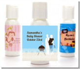 Silhouette Couple BBQ Boy - Personalized Baby Shower Lotion Favors