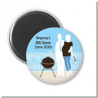 Silhouette Couple BBQ Boy - Personalized Baby Shower Magnet Favors
