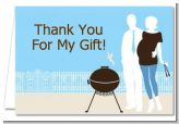 Silhouette Couple BBQ Boy - Baby Shower Thank You Cards