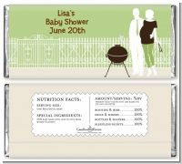 Silhouette Couple BBQ Neutral - Personalized Baby Shower Candy Bar Wrappers