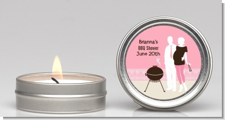 Silhouette Couple BBQ Girl - Baby Shower Candle Favors