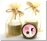 Silhouette Couple BBQ Girl - Baby Shower Gold Tin Candle Favors