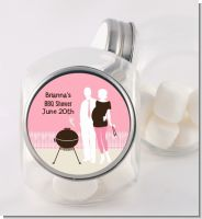 Silhouette Couple BBQ Girl - Personalized Baby Shower Candy Jar