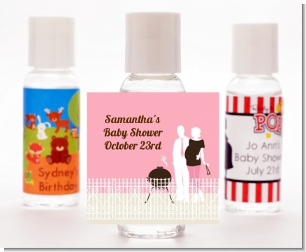 Silhouette Couple BBQ Girl - Personalized Baby Shower Hand Sanitizers Favors