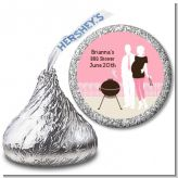 Silhouette Couple BBQ Girl - Hershey Kiss Baby Shower Sticker Labels