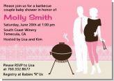 Silhouette Couple BBQ Girl - Baby Shower Invitations