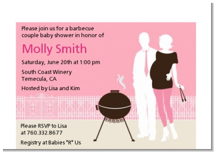 Silhouette Couple BBQ Girl - Baby Shower Petite Invitations