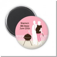 Silhouette Couple BBQ Girl - Personalized Baby Shower Magnet Favors