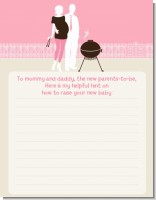 Silhouette Couple BBQ Girl - Baby Shower Notes of Advice