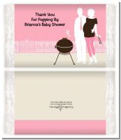 Silhouette Couple BBQ Girl - Personalized Popcorn Wrapper Baby Shower Favors